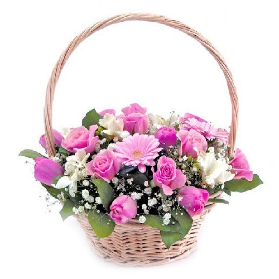 Цветов, букет цветов корзинка фото